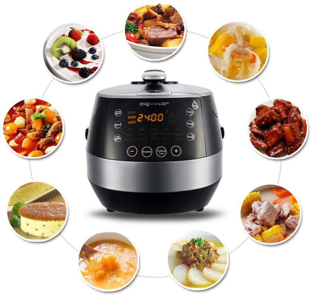 Aigostar Happy Chef 30IWY - Multicuiseur 7 en 1, 900W, 15 fonctions programmables avec grand écran LED incliné, minuterie et fonction maintien...