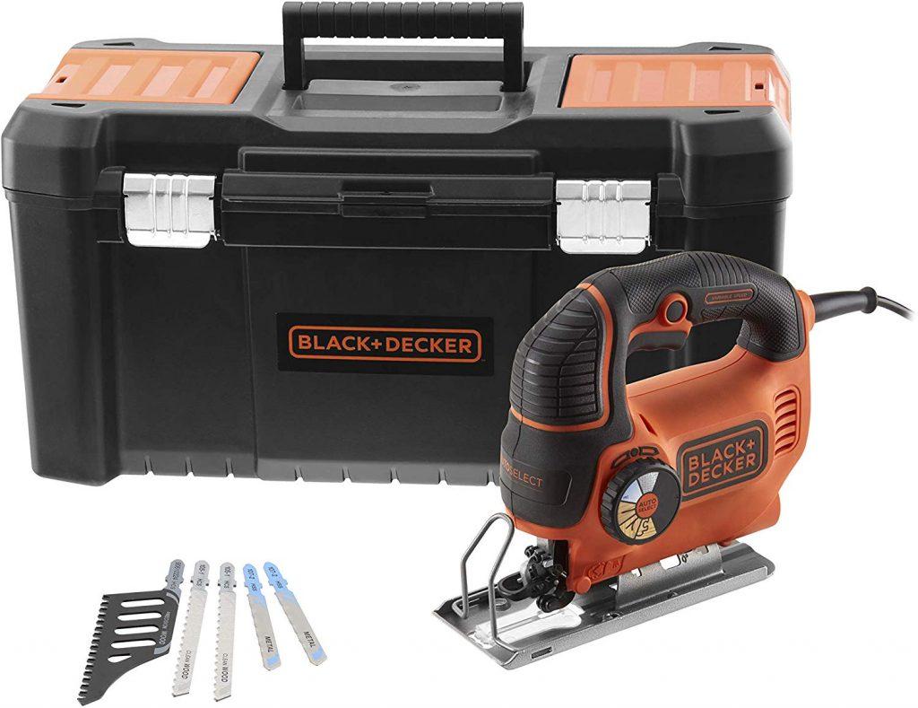 BLACK+DECKER KS801SEK5A-QS Scie sauteuse pendulaire filaire - Profondeur de coupe : 5 mm métal et 80 mm bois - 5 lames - Livrée en boite...