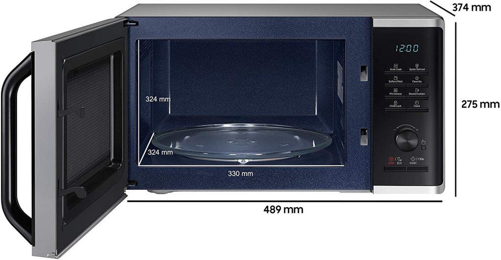 Intérieur et dimensions du four à micro-ondes Samsung MW3500K